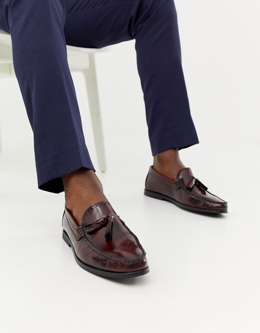 Image 1 of River Island high shine brogues in burgundy
