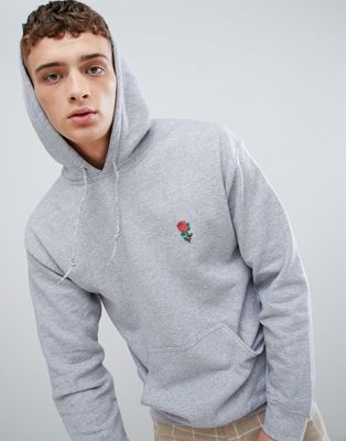 River Island Hoodie With Rose Badge In Grey