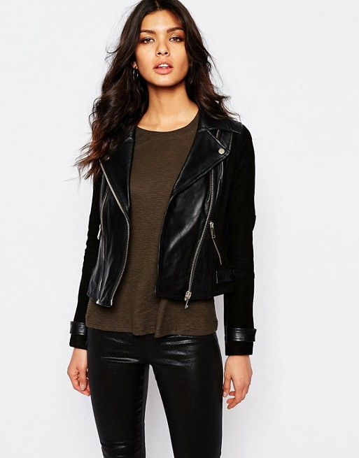 River Island Leather And Suede Biker Jacket