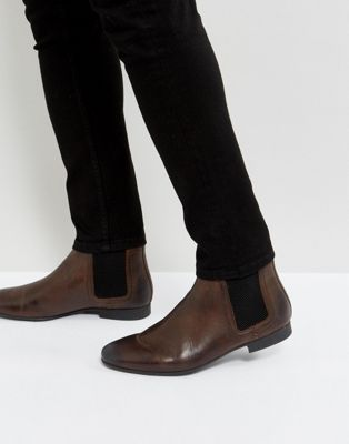 River Island Leather Chelsea Boots In Brown
