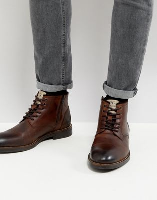 River Island Leather Chukka Boots In Dark Brown