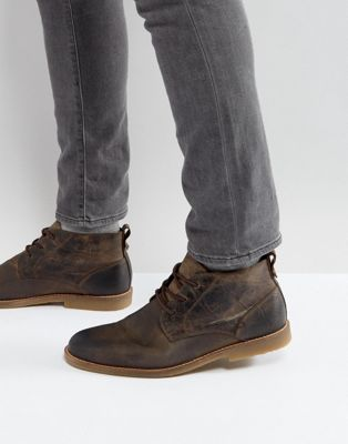 River Island Leather Desert Boots In Light Brown