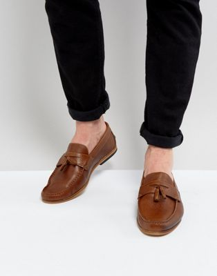 River Island Leather Loafer With Tassels In Tan