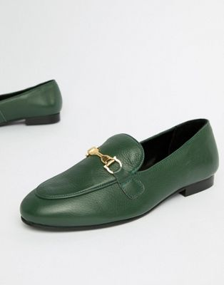 Image 1 of River Island leather loafers in green
