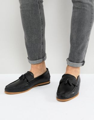 River Island Leather Loafers With Tassels In Black