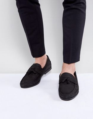 River Island Leather Loafers With Tassles In Black