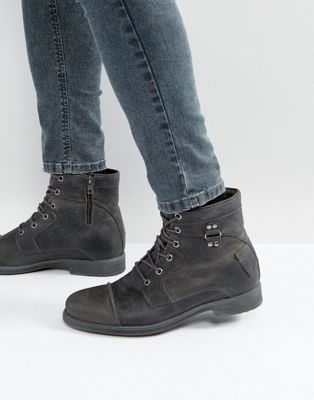 Image 1 of River Island Leather Military Boots In Dark Grey