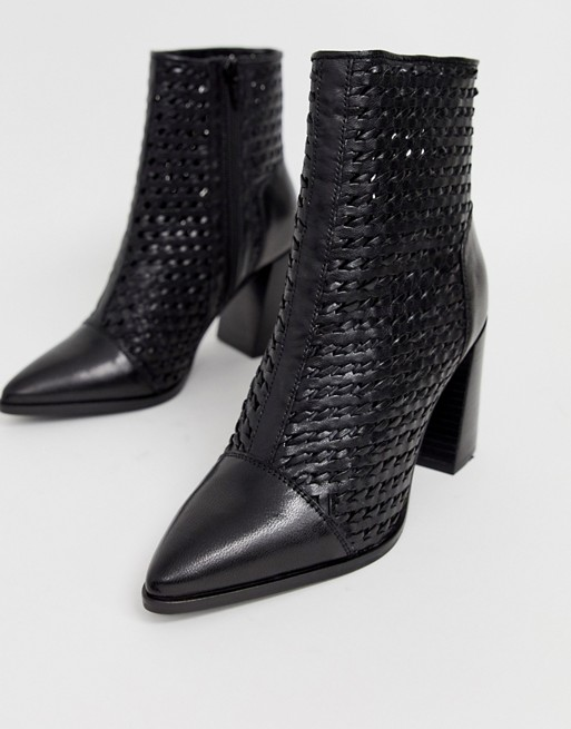 River Island leather woven boots with pointed toe in black