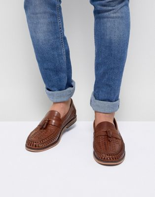 River Island leather woven tassel loafers in tan