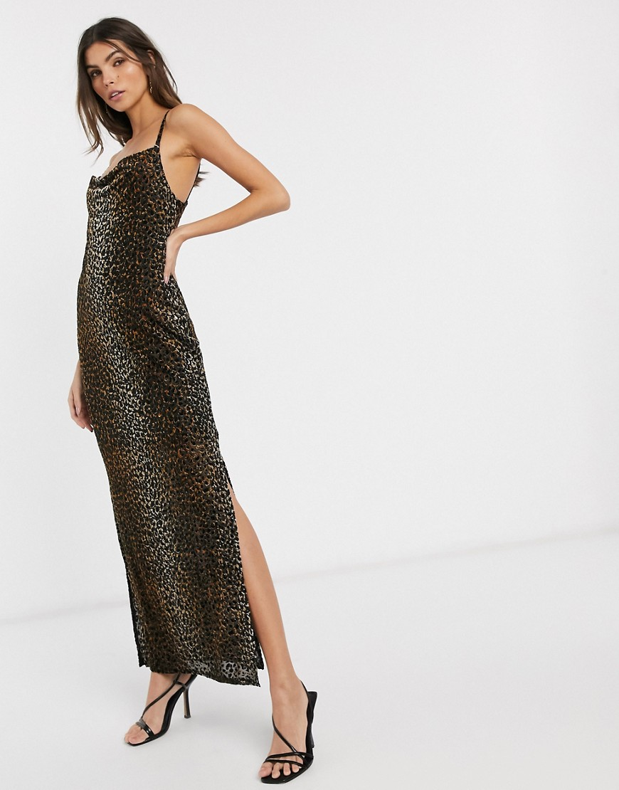 River Island leopard print velvet maxi slip dress with cowl neck-Brown - River Island online sale