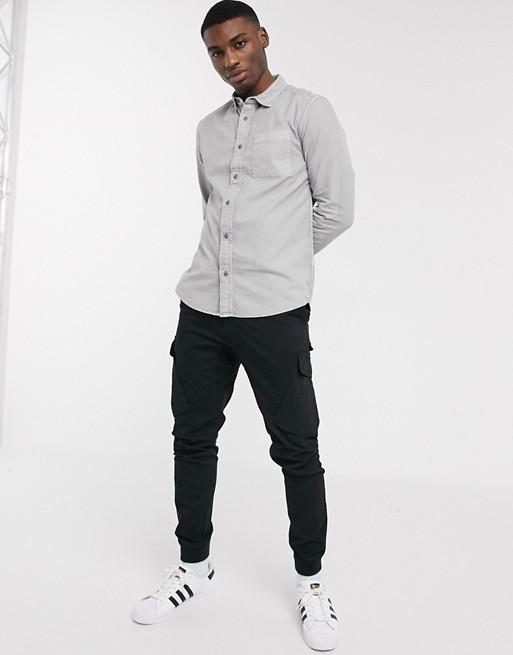River Island – Ljusgrå skjorta med lång ärm