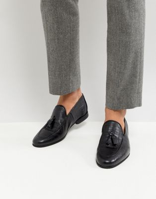 River Island Loafer With Tassels In Black Croc