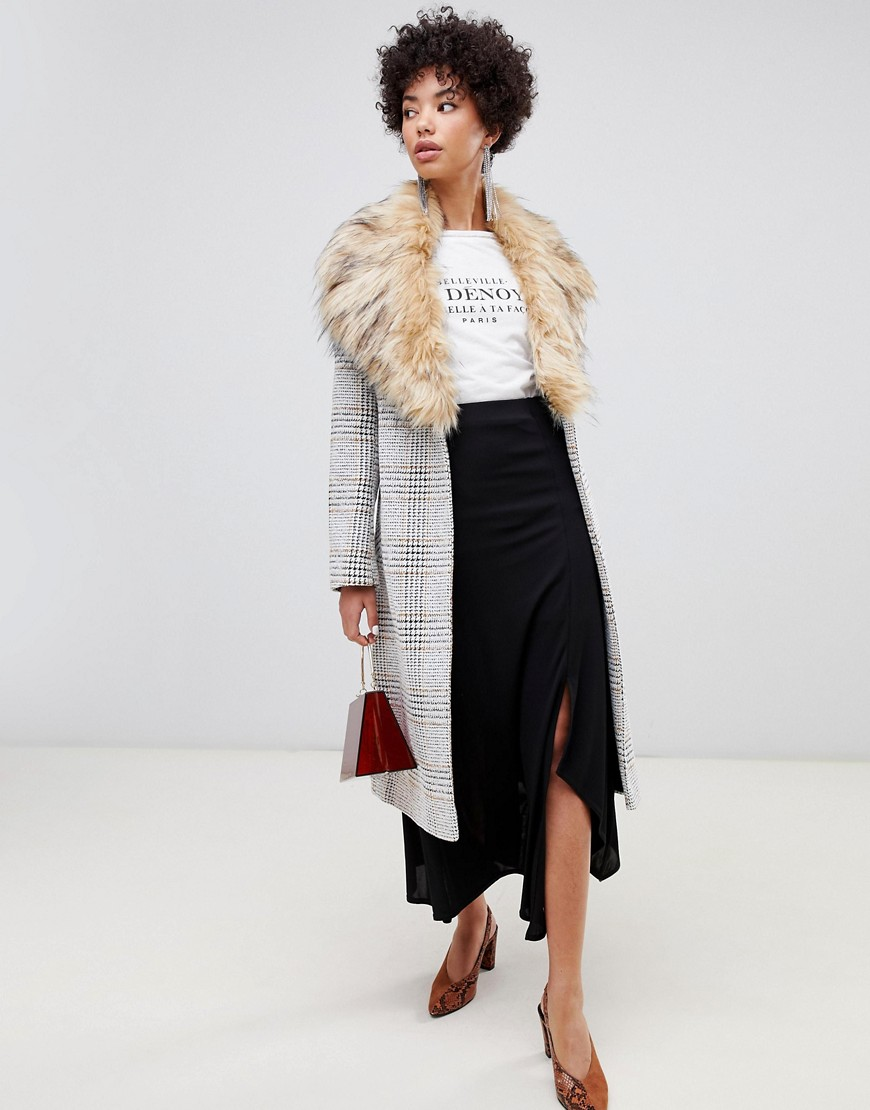 River Island Longline Tailored Coat With Faux Fur Trim In Check by River Island