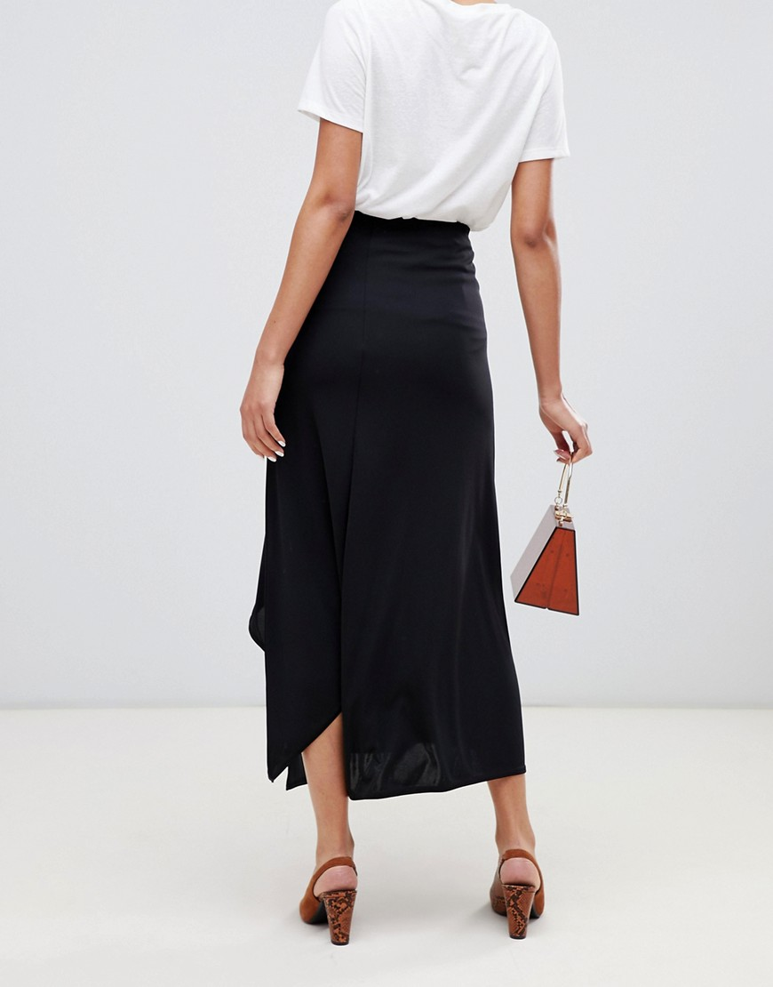 River Island Midi Skirt With Split Hem In Black by River Island