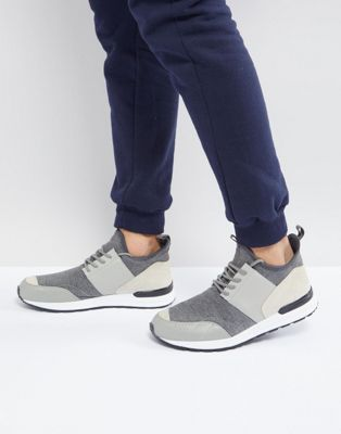 River Island Mixed Fabric Sneakers In Grey