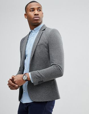 River Island Muscle Fit Blazer In Grey Marl