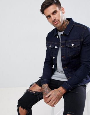 River Island Muscle Fit Denim Jacket In Dark Wash Blue