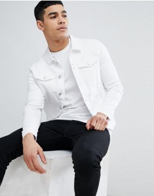 River Island Muscle Fit Denim Jacket In White Wash