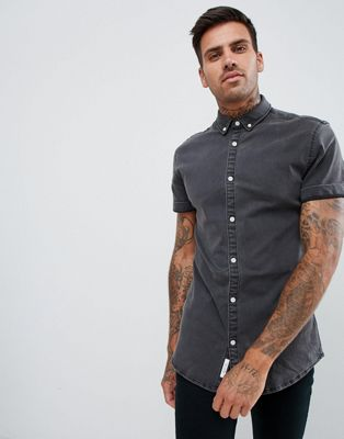 River Island muscle fit denim shirt in dark grey wash