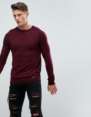 River Island Muscle Fit Jumper In Burgundy