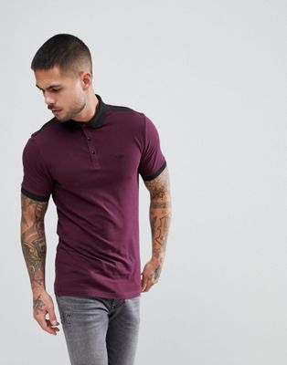 River Island Muscle Fit Polo With Shoulder Stripe In Burgundy