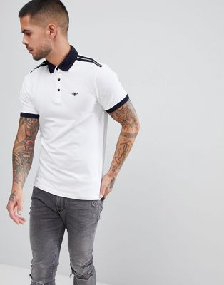 Image 1 of River Island Muscle Fit Polo With Shoulder Stripe In White