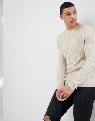 River Island Muscle Fit Rib Knit Sweater In Stone