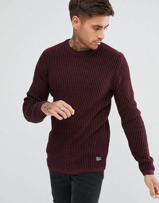 River Island Muscle Fit Ribbed Jumper In Burgundy