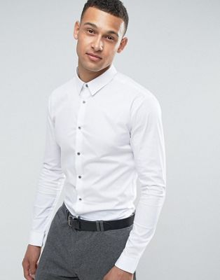 River Island Muscle Fit Shirt In White