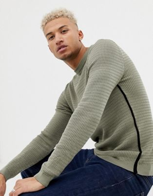 River Island muscle fit sweater in khaki