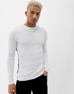 River Island muscle fit sweater in white