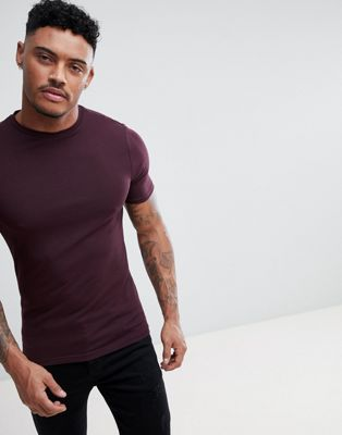 River Island Muscle Fit T-Shirt In Burgundy