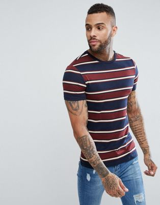 River Island Muscle Fit T-Shirt In Navy Stripe