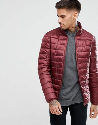 River Island Padded Jacket In Burgundy
