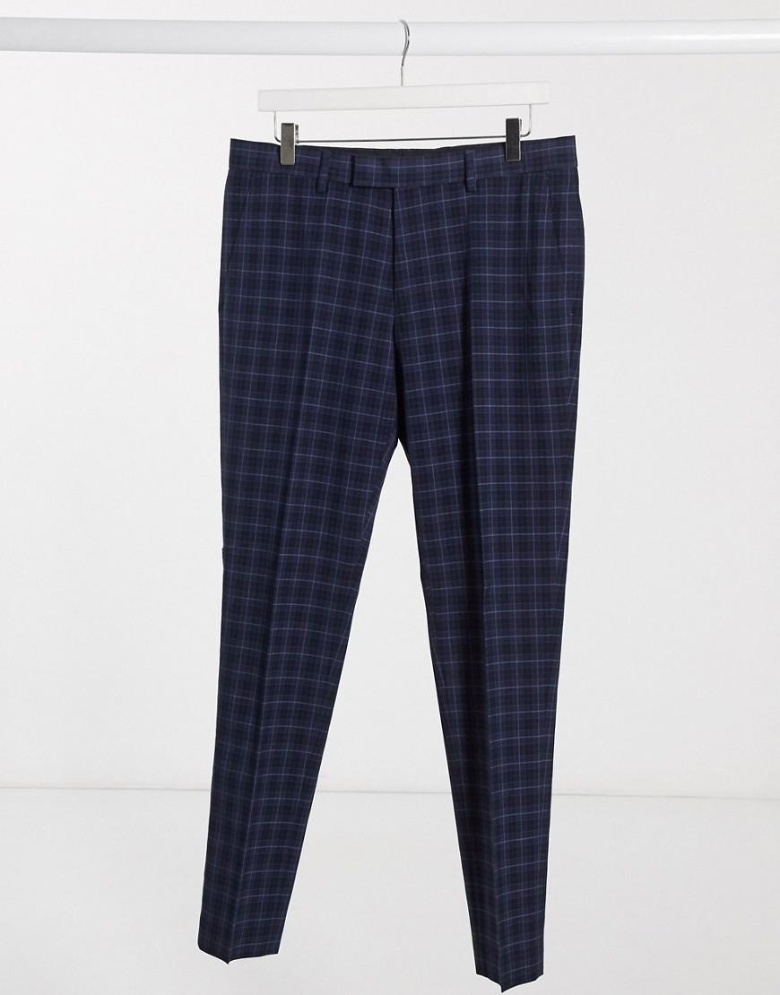 River Island - Pantalon élégant coupe skinnyà carreaux - Bleu marine-Navy
