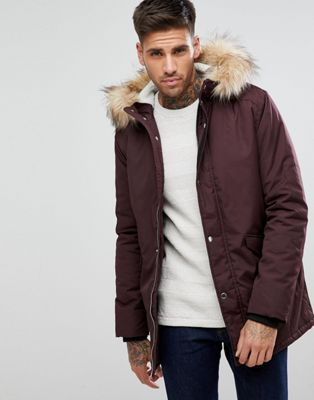 River Island Parka Jacket With Faux Fur Hood In Burgundy