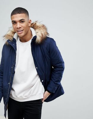 River Island Parka Jacket With Faux Fur Hood In Navy