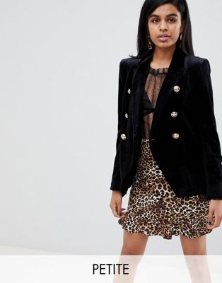 River Island Petite double breasted blazer in black