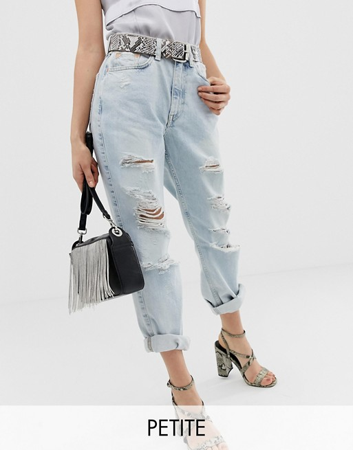 Image 1 of River Island Petite mom jeans in light wash
