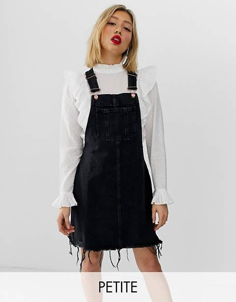 River Island Petite overall dress with fray hem in black