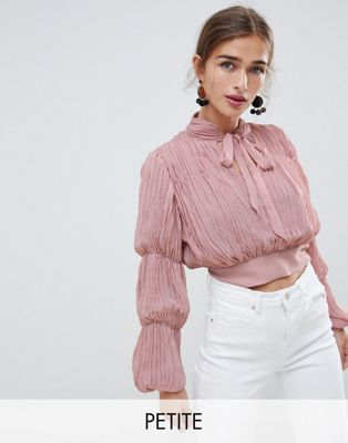 River Island Petite plisse crop top with puff sleeves