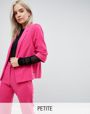 River Island Petite Ruched Sleeve Blazer