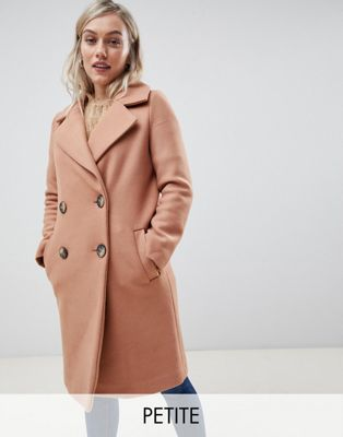 River Island Petite tailored coat in camel