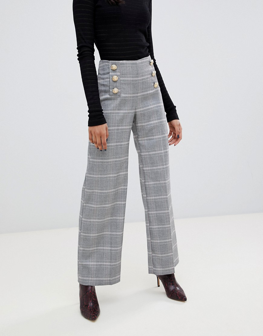 River Island Petite Wide Leg Pants With Button Front In Gray Check by River Island Petite