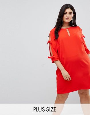 River Island Plus Bow Tie Sleeve Shift Dress