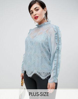 River Island Plus - Kanten blouse iin blauw