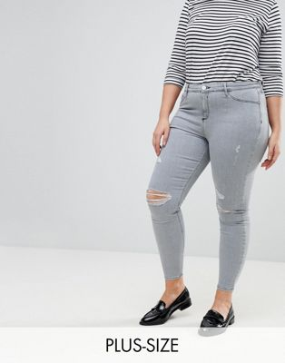 River Island Plus Molly Distressed Knee Jeans