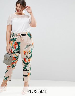 River Island Plus Tropical Print Tapered Trousers