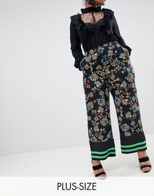 Image 1 of River Island Plus Wide Leg Trousers