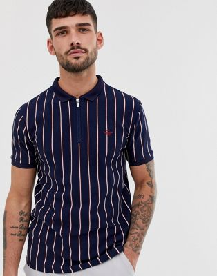 River Island polo with textured stripe in navy
